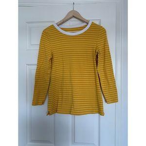 Tops - Gold /white stripe slim fit top Sz M